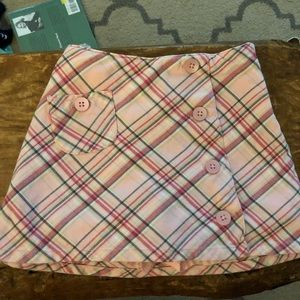 Pink plaid flannel skirt